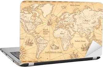 Vintage kuvitettu maailman kartta Tietokonetarra
