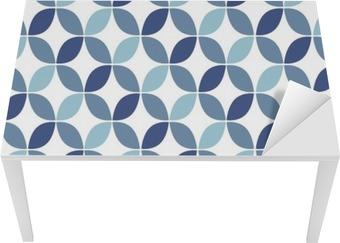 Tischaufkleber und Schreibtischaufkleber Blaue geometrische Retro nahtlose Muster