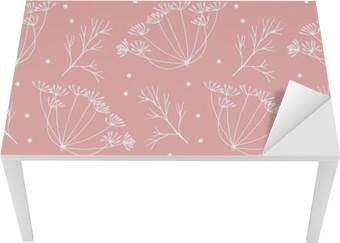 Tischaufkleber und Schreibtischaufkleber Dill oder Fenchel Blumen und verlässt Muster.