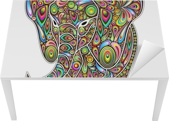 Tischaufkleber und Schreibtischaufkleber Elephant Psychedelic-Pop-Art-Design auf weißem