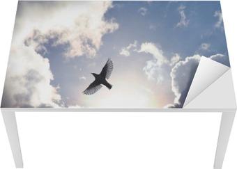Tischaufkleber und Schreibtischaufkleber Engels-Vogel im Himmel