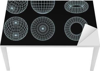 Fototapete Geometrie, Mathematik und Perspektive Drahtmodell-Symbole ...