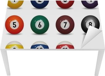 Tischaufkleber und Schreibtischaufkleber Getrennte farbige Billardkugeln. Zahlen von 1 bis 15 und Null-Ball
