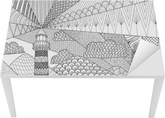 Laptop-Aufkleber Kunst Seascape Linie Entwurf für Malbuch für ...