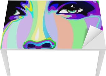 Tischaufkleber und Schreibtischaufkleber Mädchen Portrait Psychedelic Psychedelic Regenbogen-Gesichts-Mädchen