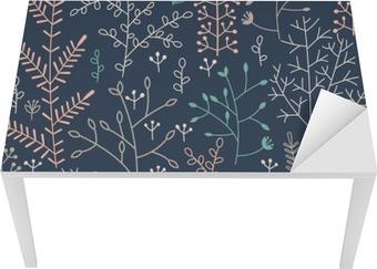 Tischaufkleber und Schreibtischaufkleber Nahtlose Muster mit minimalistischem Blumenverzierung