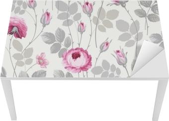 Tischaufkleber und Schreibtischaufkleber Nahtloses Blumenmuster mit Rosen in Pastellfarben