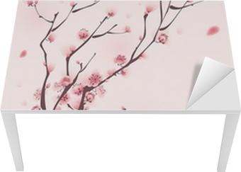 Tischaufkleber und Schreibtischaufkleber Orientalischen Stil Malerei, Kirschblüte im Frühjahr