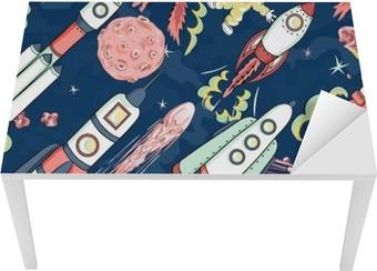 Tischaufkleber und Schreibtischaufkleber Raumschiff nahtlose Muster