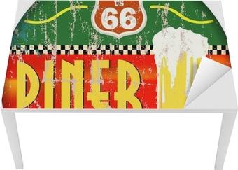Tischaufkleber und Schreibtischaufkleber Retro amerikanische Route 66 Diner Zeichen, Vektor-EPS