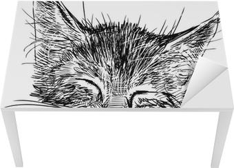 Tischaufkleber und Schreibtischaufkleber Schlafender katze