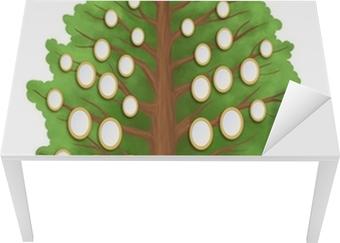 Tischaufkleber und Schreibtischaufkleber Stammbaum mit leeren ovalen Rahmen