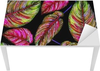 Tischaufkleber und Schreibtischaufkleber Tropical Laub nahtlose Muster. Bunte Blätter von exotischen Calathea Ornata Pflanze auf schwarzem Hintergrund, leuchtenden Farben. Handgemachte Aquarell-Illustration.