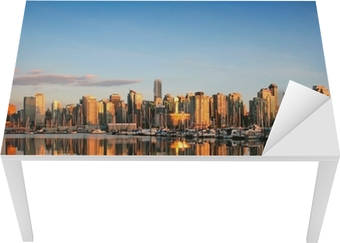 Tischaufkleber und Schreibtischaufkleber Vancouver Skyline bei Sonnenuntergang