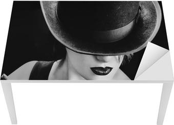 Tischaufkleber und Schreibtischaufkleber Vintage Frau mit einem Hut und Zigarre