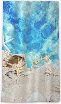 Transparant gordijn Zomer op zijn best: schelpen en zeesterren op een blauwe zee