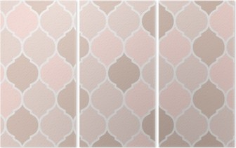 Tríptico Azulejos de padrão-de-rosa sem emenda, vetor