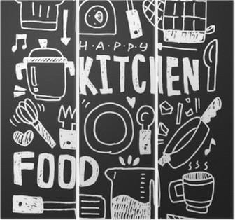 Tríptico Cozinha elementos doodles mão linha traçada ícone, eps10