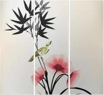 Tríptico Estilo de la tinta china dibujo del pájaro de la flor