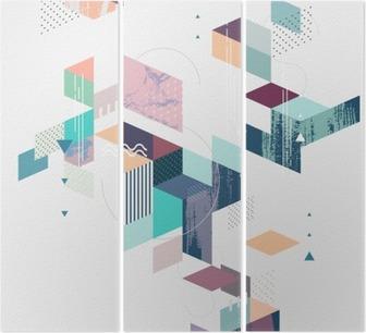 Tríptico Fundo geométrico abstrato moderno