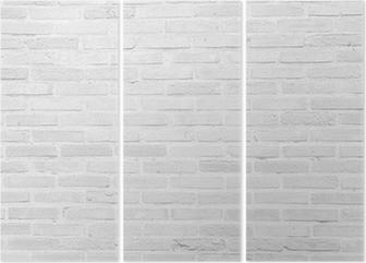 Tríptico Grunge pared de ladrillo blanco textura de fondo