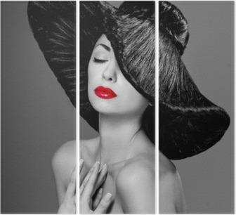 Tríptico Magnífica mujer con un sombrero