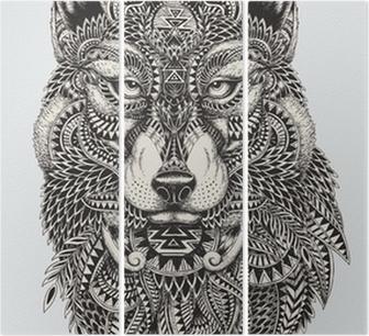 Tríptico Muy detallada lobo ilustración abstracta