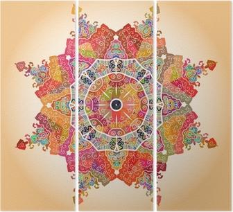 Tríptico Oriental mandala motif