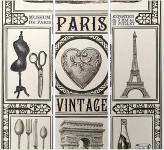 Tríptico Poster Paris Vintage