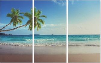 Tríptico Puesta de sol en la playa de Seychelles