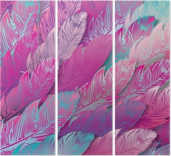 Tríptico Sin problemas de fondo de plumas de color rosa iridiscente, de cerca
