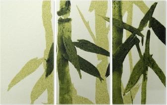 Tríptico Textura de bambú