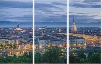 Tríptico Turin (Torino), high definition panorama at twilight