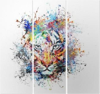 яркий фон с тигром Triptych