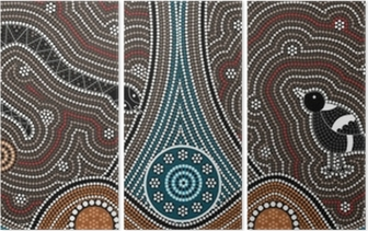 A illustration based on aboriginal style of dot painting depicti Triptych