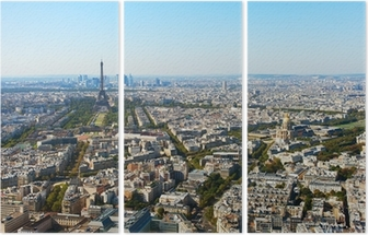 Aerial view of Paris. Triptych