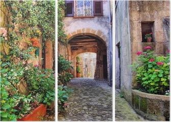 Arched cobblestone street in a Tuscan village, Italy Triptych