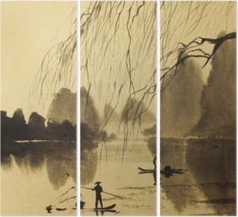 Asian mountains and lake Triptych