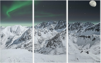 Aurora and moon in mountains Triptych