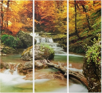 Autumn creek woods with yellow trees Triptych