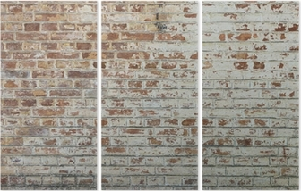 Background of old vintage dirty brick wall with peeling plaster Triptych
