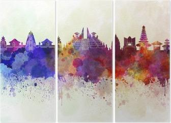 Bali skyline in watercolor background Triptych