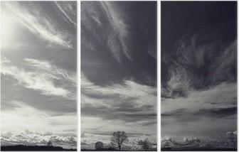 black and white photo autumn landscape Triptych
