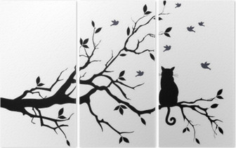 cat on a tree with birds, vector Triptych