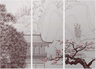 Chinese landscape Triptych