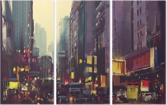 City traffic and colorful light in Hong Kong,illustration painting Triptych