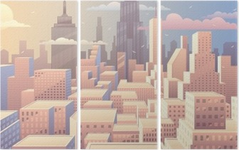 Cityscape Sunrise Triptych