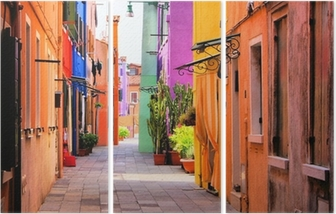 Colorful street in Italy Triptych