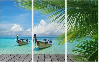 Deck with a view of a tropical sea Triptych