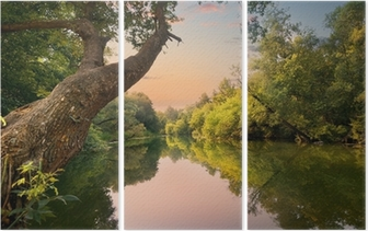 Evening on the river Triptych